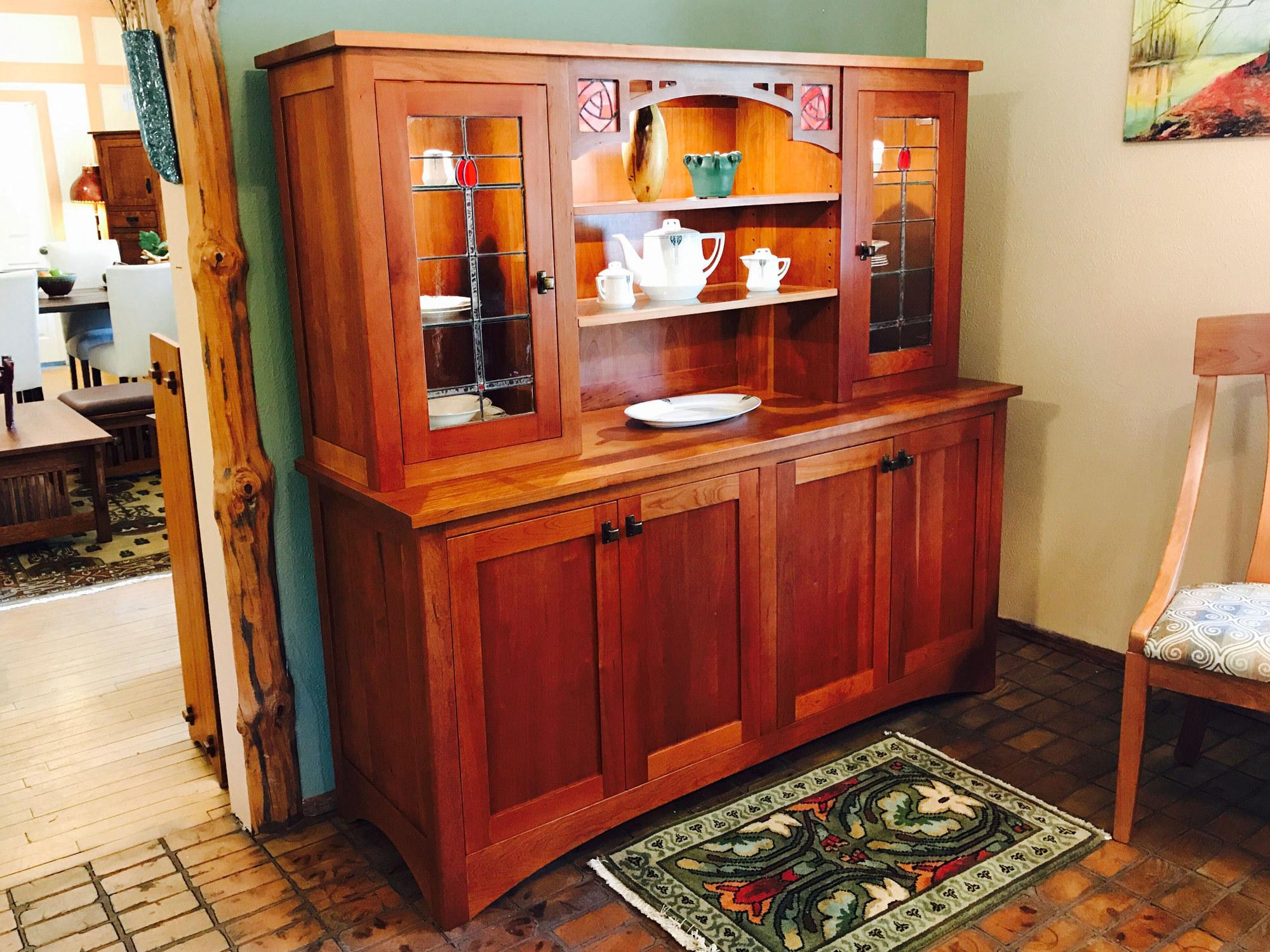 Skara Brae Cherry U0026 Leaded Glass China Cabinet