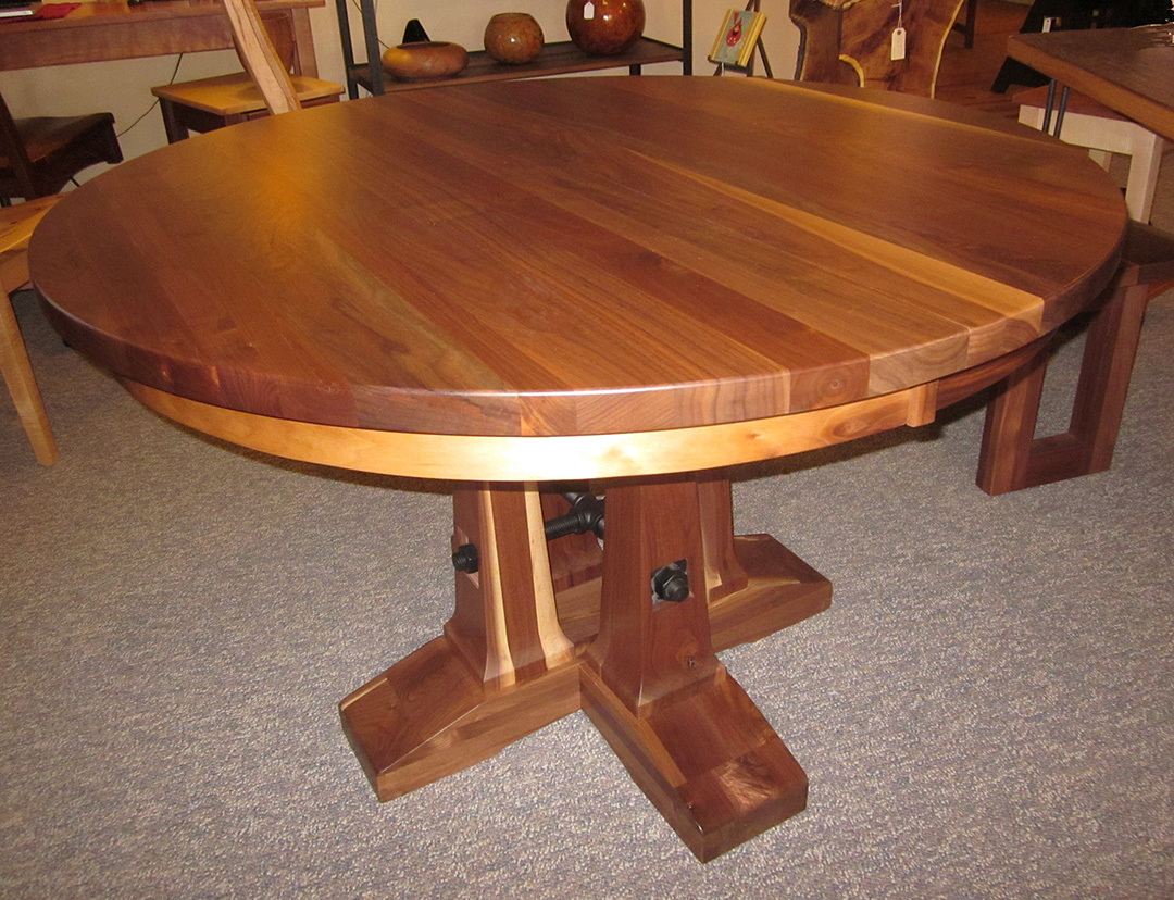 round walnut dining table. Valmont Round Walnut Dining Table With Leaves