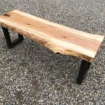 Custom Live-Edge Hickory Bench with Steel Base