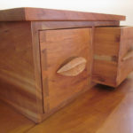 Cherry Rosebud Desk Drawer Detail