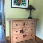 Cherry console with inlaid walnut & glass grapevine