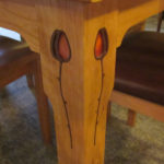 Cherry Rosebud DIning Table Inlay Detail