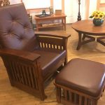 Arch-Arm Quarter-Sawn Oak Glider and Ottoman