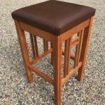 Custom cherry barstool with inlays & carving